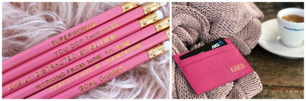 office secret santa gifts workplace kris kringle ideas monogram inspo pencils